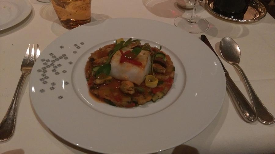 Seared Haddoc with Musscles and Caponata