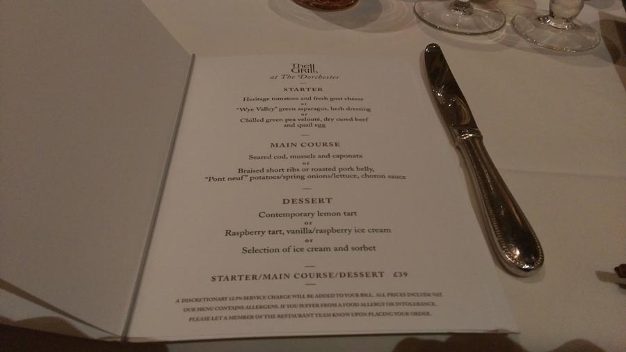 The Dorchester Grill Menu