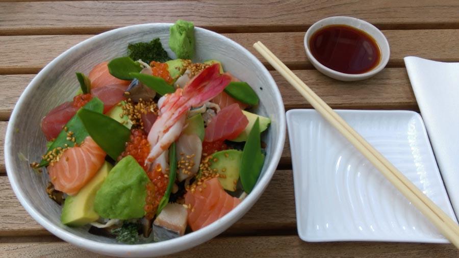 Chirashi full view at sticks and sushi