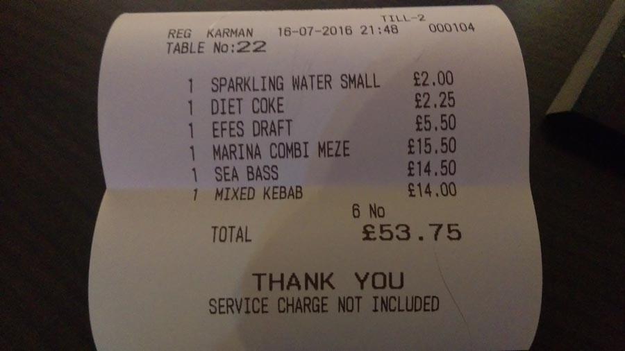 Marina Meze Grill restaurant bill