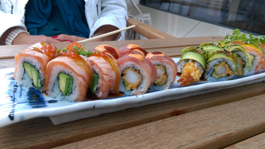 Sushi rolls salmon and avocado