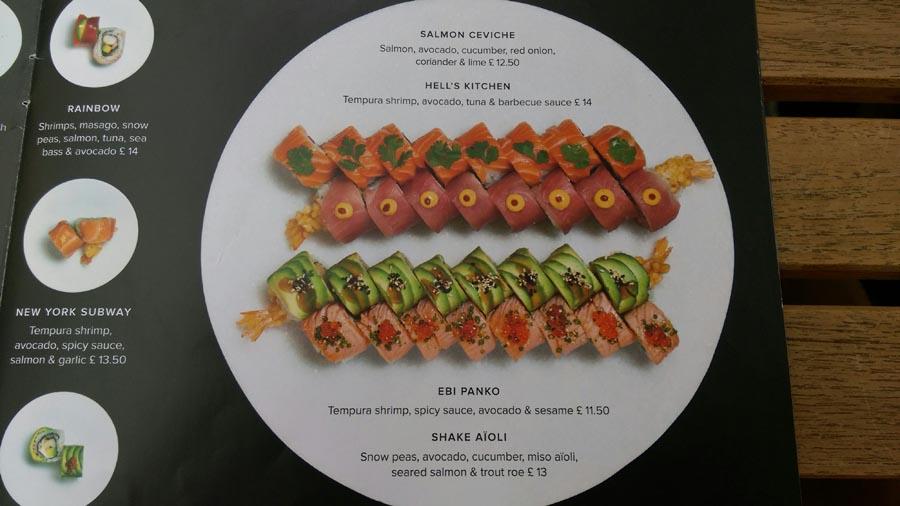 Sushi rools menu