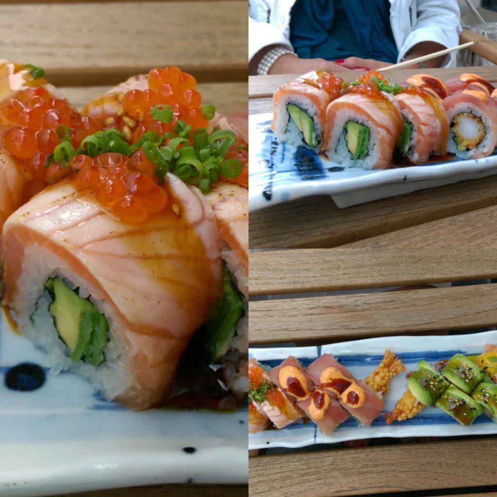 Sushi rolls sticks and sushi