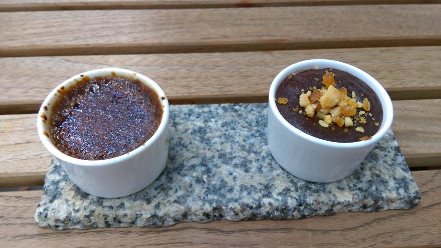 Cream brûlée's  and chocolate desert