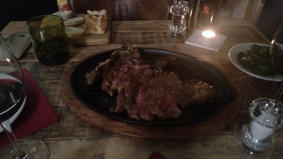 T-Bone-Steak sliced and cooked at perfection
