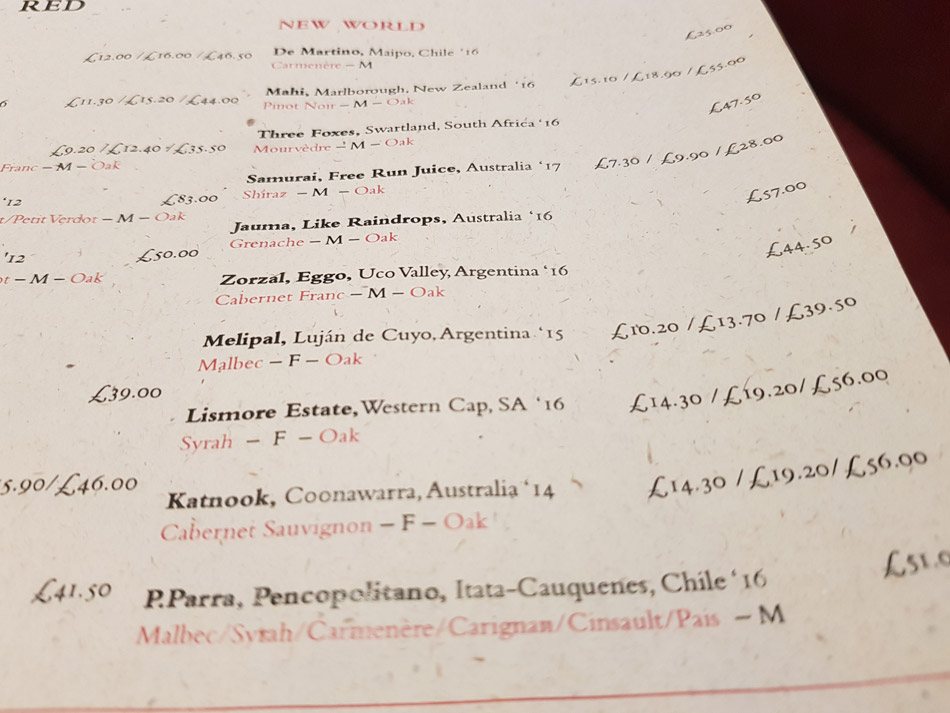 The Jugged hare wine list